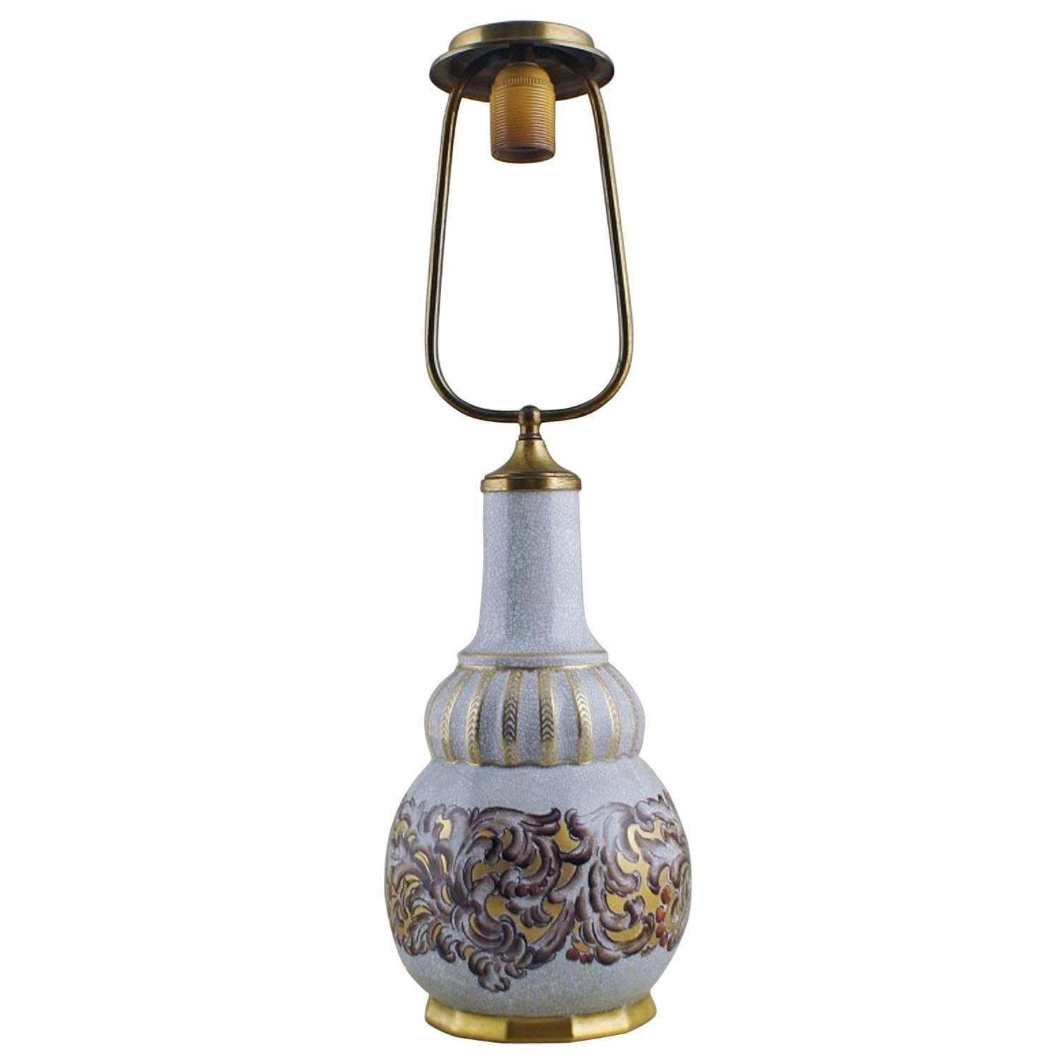 Dahl Jensen Table Lamp Crackle Porcelain, Decorated in Gold