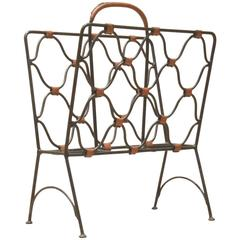 French Mid-Century Design Jacques Adnet Cast Iron & Brown Leather Magazine Rack