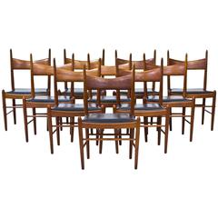 Set of Ten 1950s Teak Dining Chairs by Illum Wikkelsø