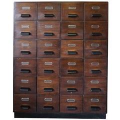 Industrial Oak Filing Cabinet, 1950s