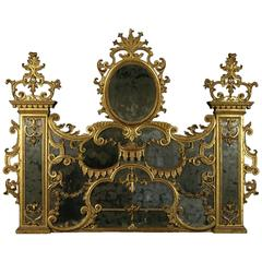 Early 18th Century Baroque Linden Carved and Gilded Wall Mirror for Fireplace