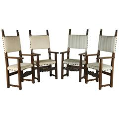 Group of Four Late 17th Century Walnut Chairs with Open Armrests