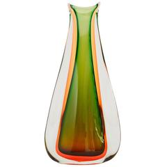 Green and Ambra Murano Sommerso Vase by Seguso, Made in Italy, 1960