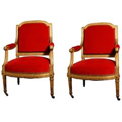 Pair of Carved Giltwood Fauteuil