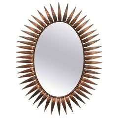 Mid-Century Spanish Sunburst Copper Mirror, 1950s