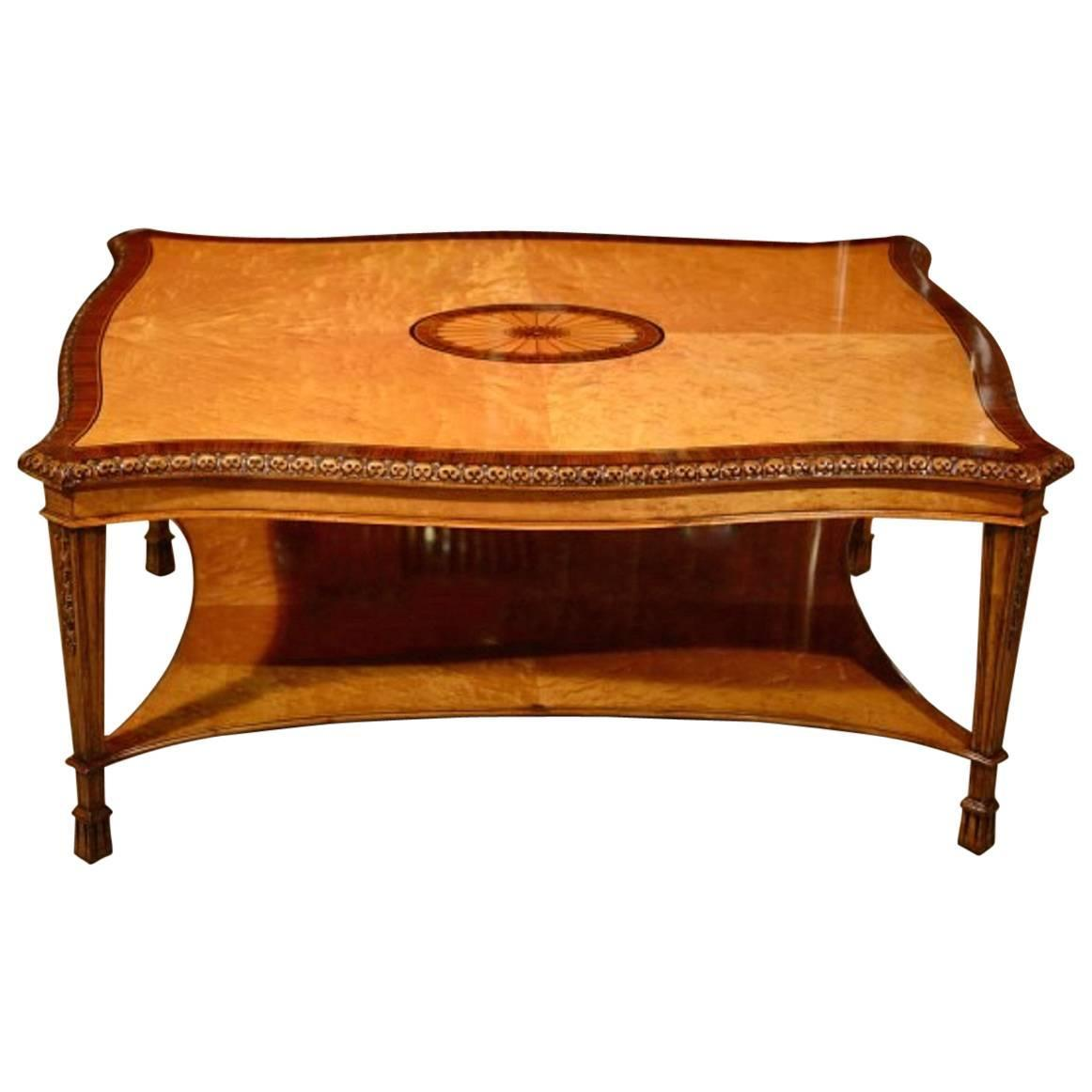 Stunning Satinwood Inlaid Bird 39 S Eye Maple Coffee Table For Sale At 1stdibs