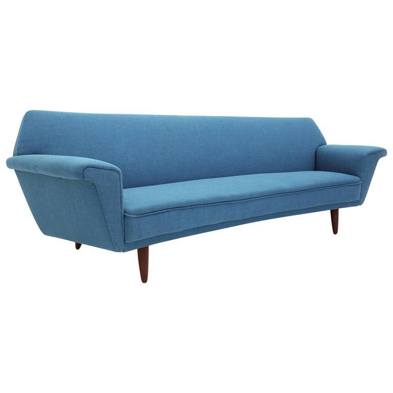 Danish Mid-Century Modern Curved Four-Seat Sofa at 1stdibs