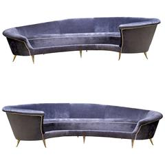 Pair of 1950s Italian Curved Sofas, New Upholstery and Small Typical Brass Legs