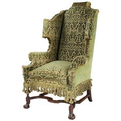 Very Fine William and Mary Walnut Wing Chair