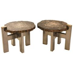 Pair of 1970s Inspired Side Tables in Petrified Wood by Artist Yann Dessauvages