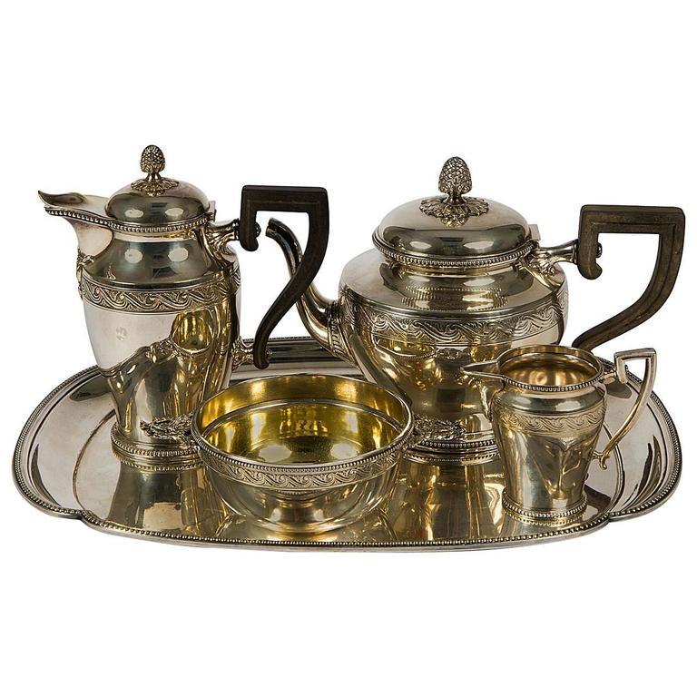 Marvelous Christofle Tea and Coffee Set with Ebony Handles