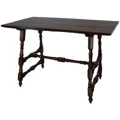 Italian Walnut Table, Interesting Double Stretcher, Early 18th Century