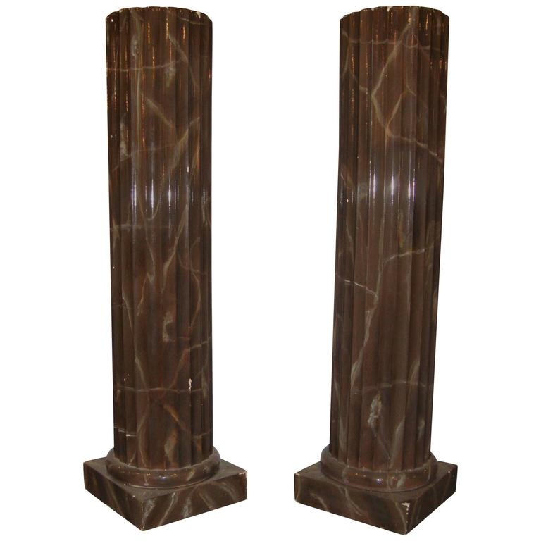 Pair of Faux Marble Column Style Pedestals For Sale