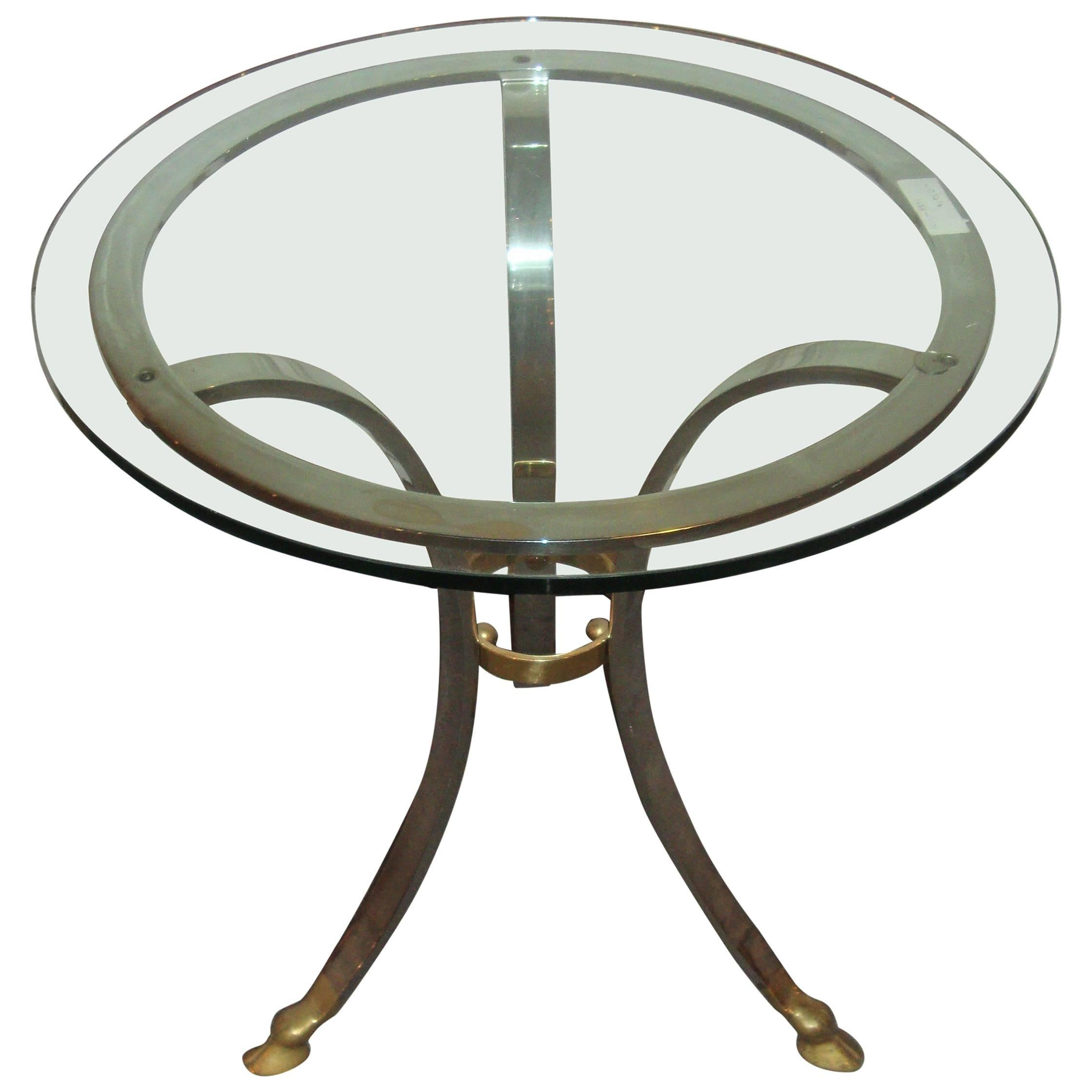Maison Baques Style Glass Top Center Table With Brass and Steel Base Claw Feet