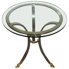 Maison Baques Style End Table Brass and Steel