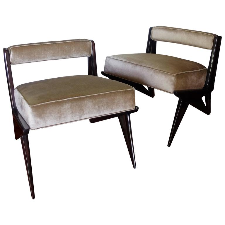 Pair of Elegant Armchairs in Pale Green Velvet Attributed to Ico Parisi