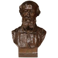 19th Century French Bronze Bust Signed by Jean-Francois Delorme and Dated 1886
