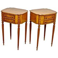 Pair of Early 20th Century Federal Style Tiger Maple Stands