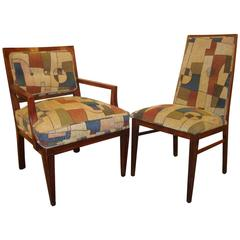 Set of Eight Mid-Century Modern Dining Chairs Having Geometric Upholstery