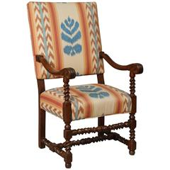 French Baroque Walnut Armchair Upholstered in Ikat Fabric