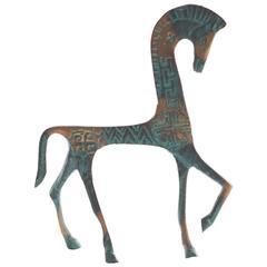 Mid-Century Italian Modern Brass Horse Sculpture, 1950s