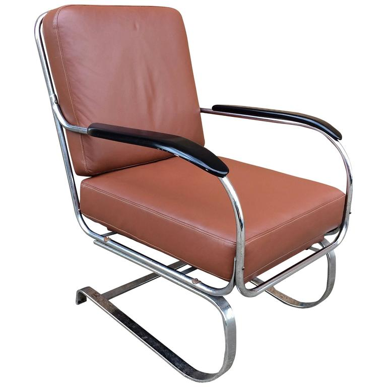 Machine Age KEM Weber for Lloyd Chrome and Leather Lounge Chair