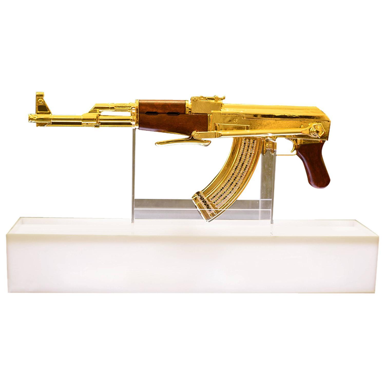 ak 47 gold numbered and limited edition art sculpture demilitarized for sale at 1stdibs. Black Bedroom Furniture Sets. Home Design Ideas