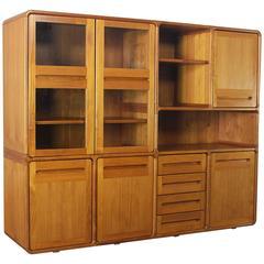 Vintage Teak Scandinavian Modern Dyrlund-Style Wall Unit Bookcase Storage