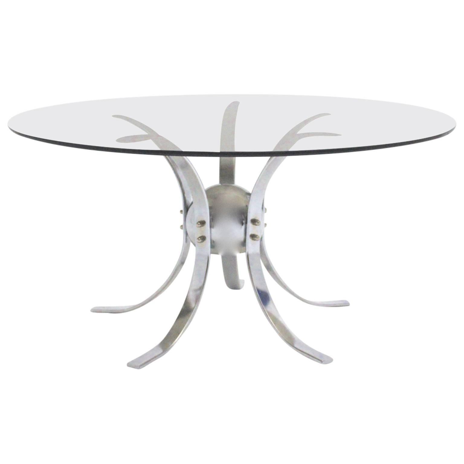 Space Age Vintage Chromed Metal Glass Vintage Sputnik Coffee Table 1960