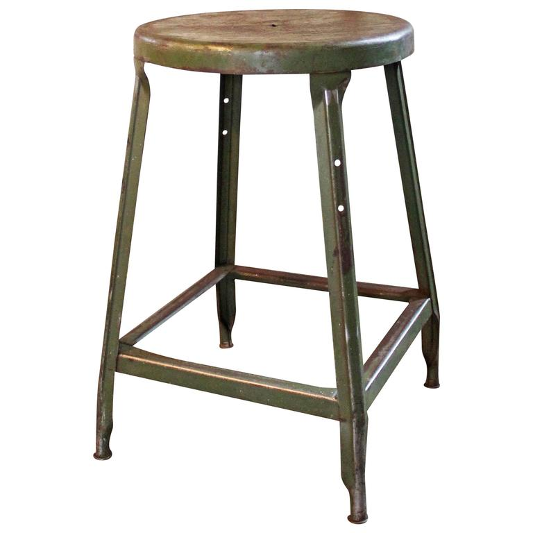 Vintage Industrial Metal Machine Age Factory Shop Backless Stool, Seat