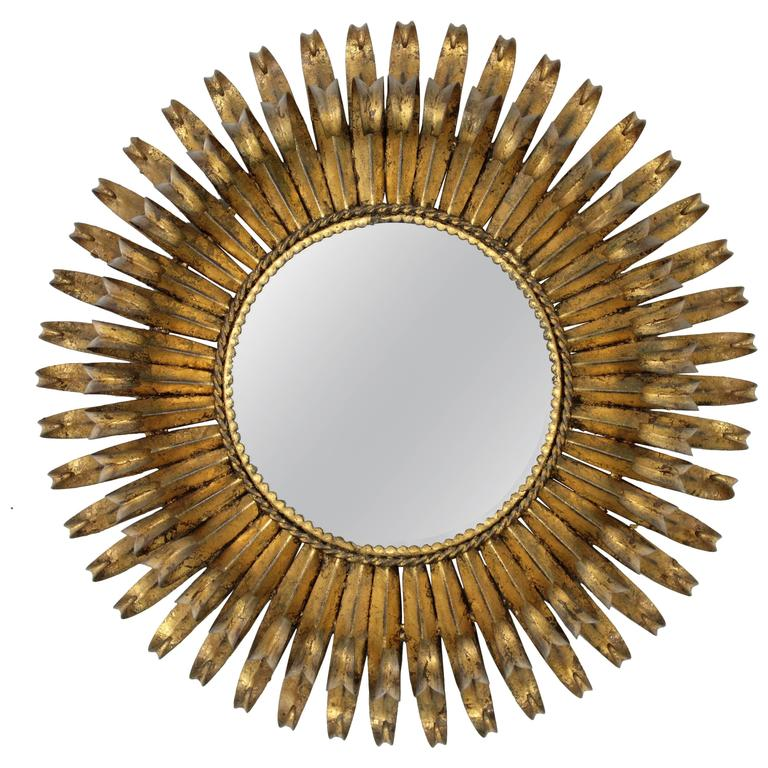 french 1950s gilt iron double layered eyelash circular sunburst mirror 2