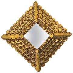 Spanish 1940s Baroque Style Carved Gold Leaf Giltwood Rhombus Mirror