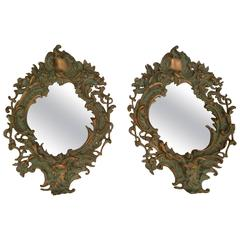 Pair of Italian Bronze Wall Mirrors with Satyr Masks