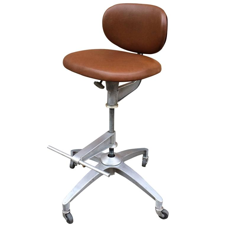 Shaw Walker Adjustable Aluminum And Leather Drafting Stool
