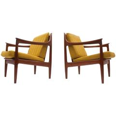 Pair of Low Danish Modern Lounge Chairs