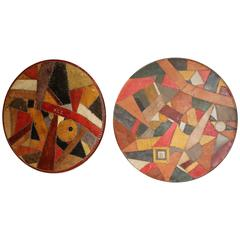Pair of Leather Piece Work Covered Wooden Roundels