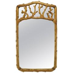 Hand-Carved Fruitwood Faux Bois Mirror