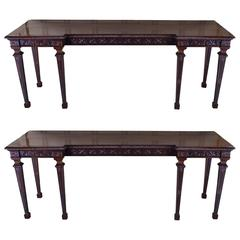 Rare Pair of Finely Carved English Mahogany Console Tables, circa 1850