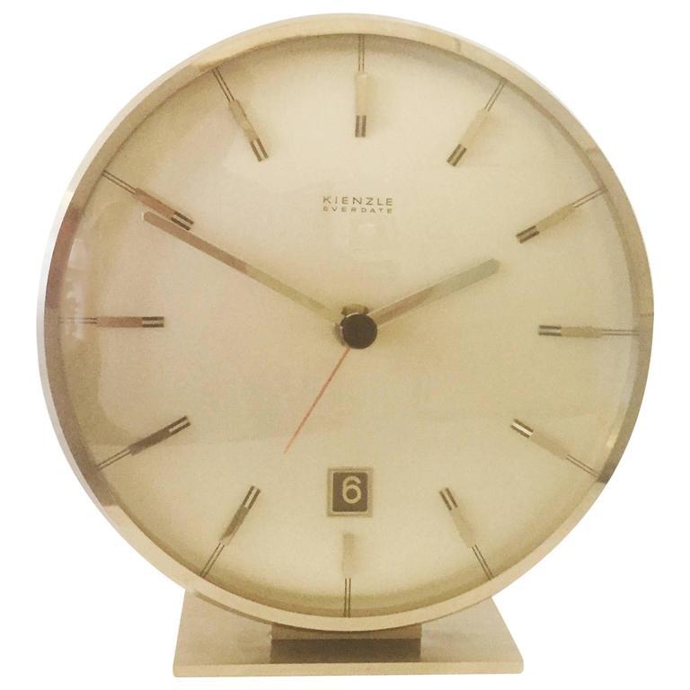 "Chromed Mid-Century ""Everdate"" Table Clock by Kienzle 1"