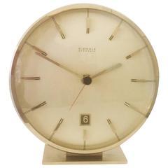 "Chromed Mid-Century ""Everdate"" Table Clock by Kienzle"