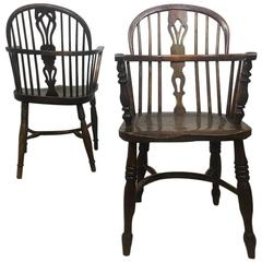 19th Century Yew Wood Windsor Armchairs, Set of Four