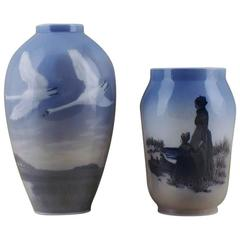 Two Royal Copenhagen Vases, Swans in Landscape and Mother and Daughter