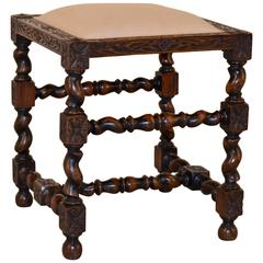 19th Century English Turned Upholstered Stool