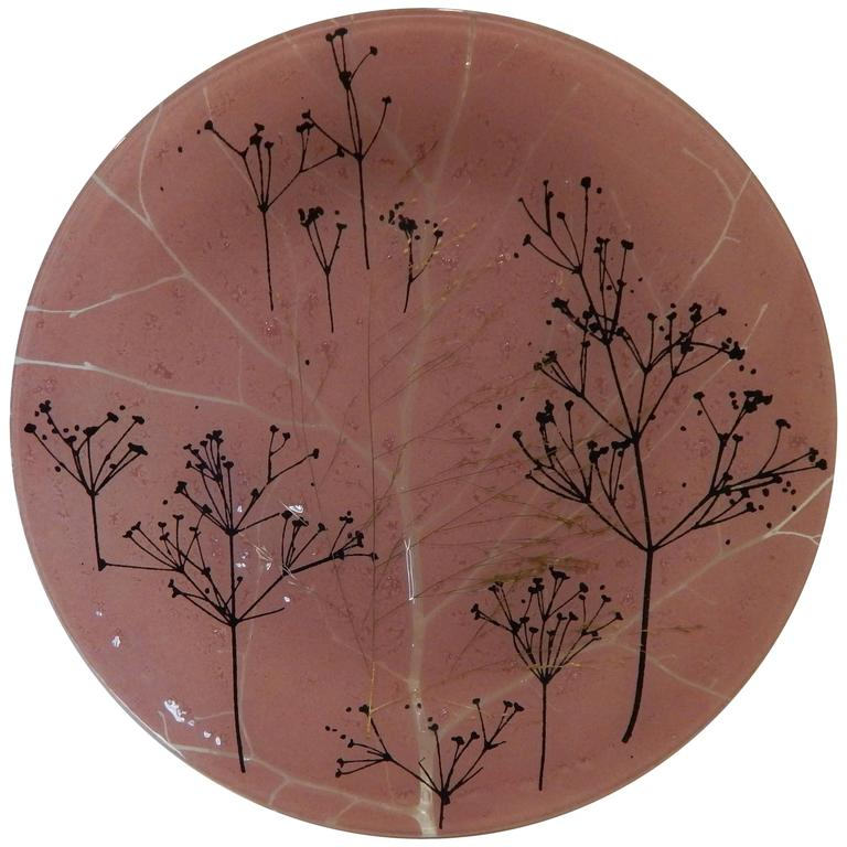 Higgins Modern Glass, Trees Motif with Pink Background