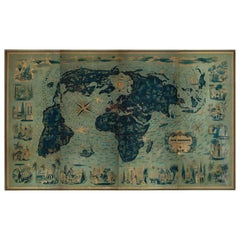 Four Reproduction Vintage Panels of Air France World Map