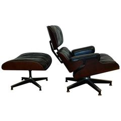 1956 Charles Eames Herman Miller Rosewood Lounge Chair and Ottoman First Year