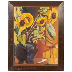 An Early 20th Century Oil Painting of Sunflowers on Canvas