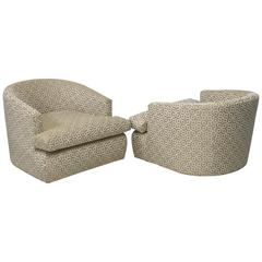 Pair of Curved Back Lounge Chairs and Ottomans with Geometric Fabric