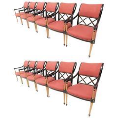 Set of 12 Dorothy Draper Design for Henredon Regency Dining Chairs