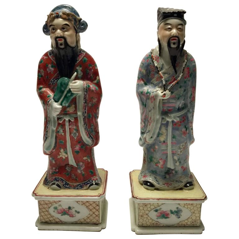 Pair of Porcelain Chinese Philosopher Statues, 18th Century